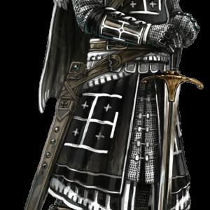 Chevalier templier en armure noir et blanc avec une épée